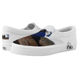 Peacock Custom Zipz Slip On Shoes,  Men & Women