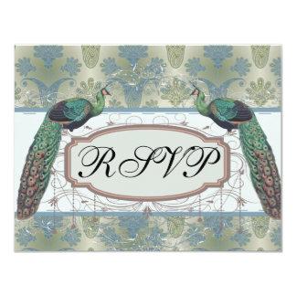 peacock damask and peafowl elegant design 11 cm x 14 cm invitation card