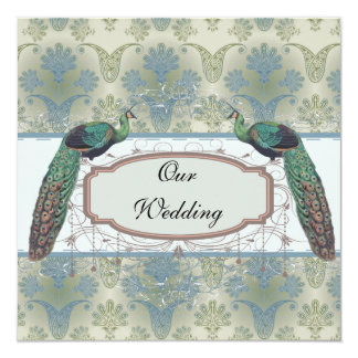 peacock damask and peafowl elegant design 13 cm x 13 cm square invitation card