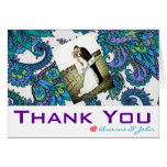 Peacock Damask THANK YOU Card