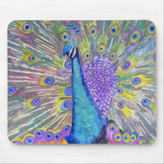 Peacock Dance Purple and Blue Mouse Pad