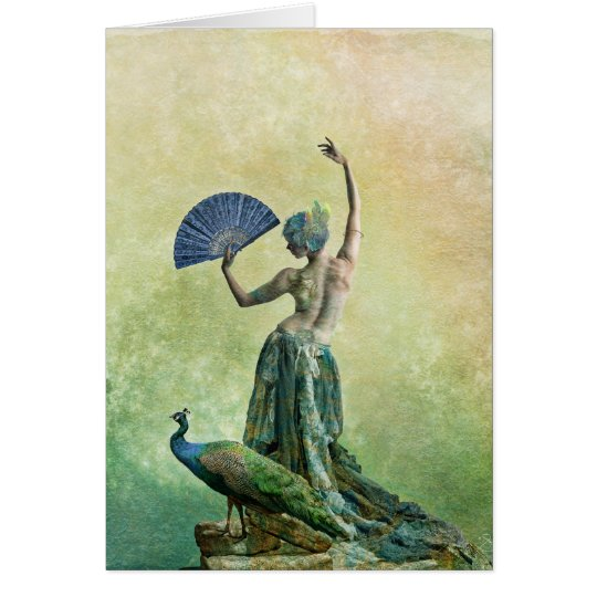 Peacock Dancer Greeting Card with Saying