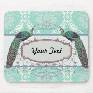 peacock design and aqua blue damask design mouse pad