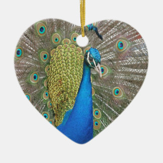 Peacock Design Ceramic Heart Decoration