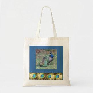 Peacock Design Reusable Tote Bag.