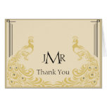 Peacock Elegance Art Deco Anniversary Thank You Note Card