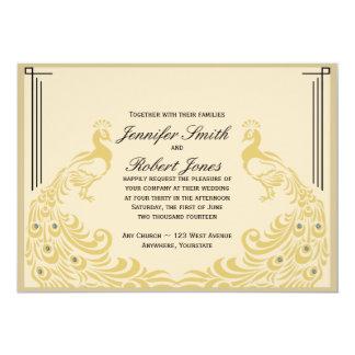 "Peacock Elegance Art Deco Flair Wedding Invitation 5"" X 7"" Invitation Card"