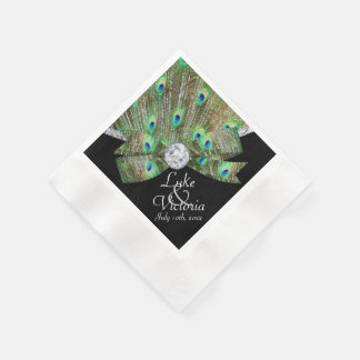 Peacock Elegance & Diamonds Wedding Disposable Serviettes