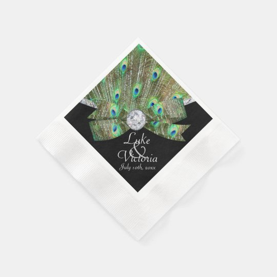 Peacock Elegance & Diamonds Wedding Disposable Serviettes