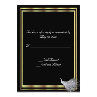 Peacock Elegance in Black, Gold, and White 13 Cm X 18 Cm Invitation Card