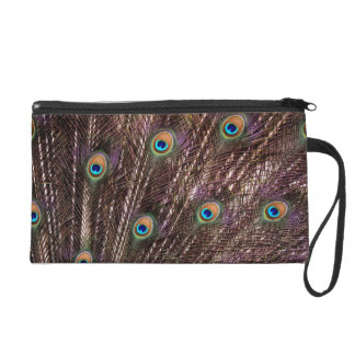Peacock Eye Feathers Satin Clutch Bag Wristlet