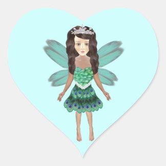 Peacock Fairy Princess Heart Stickers