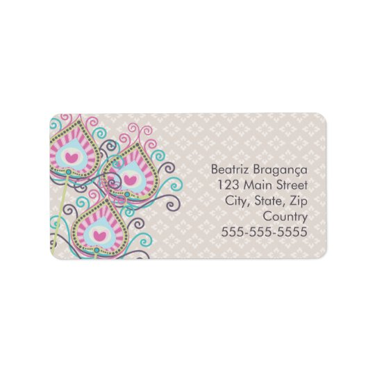 Peacock Fancy Feathers Damask Address Label