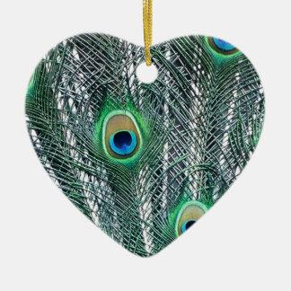 Peacock Fantasy Ceramic Heart Decoration