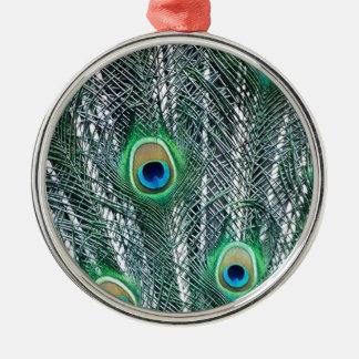 Peacock Fantasy Silver-Colored Round Decoration