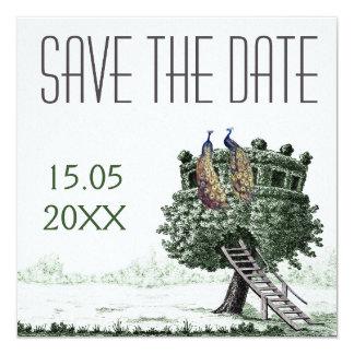 Peacock Fantasy Tree Wedding Save the Date 13 Cm X 13 Cm Square Invitation Card
