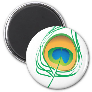 Peacock feather 6 cm round magnet