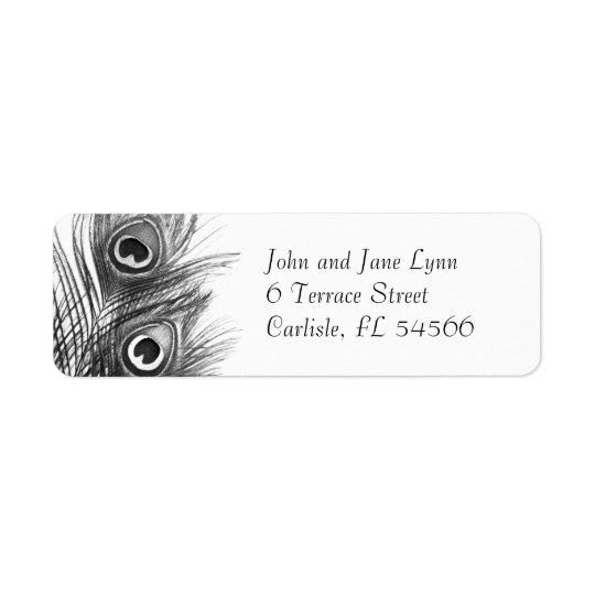 Peacock Feather Address Labels - Black and White