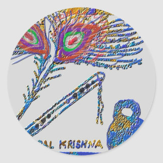 Peacock Feather and Flute - Hare Krishna Round Sticker