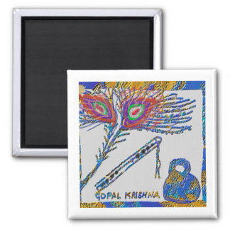 Peacock Feather and Flute - Hare Krishna Square Magnet
