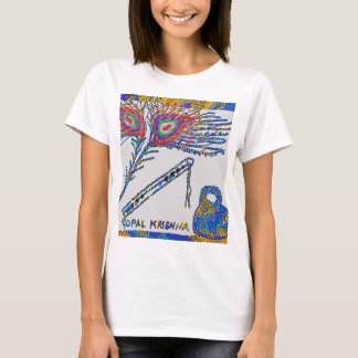 Peacock Feather and Flute - Hare Krishna T-Shirt