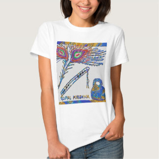 Peacock Feather and Flute - Hare Krishna T-shirts