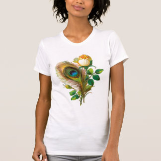 Peacock Feather and Rose Tee Shirts