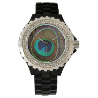 Peacock Feather Animal Print Boho Watch