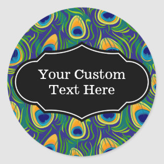 Peacock Feather Animal Print Classic Round Sticker
