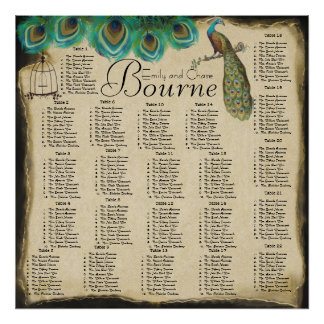 Peacock Feather Bird Cage Reception Seating Chart Posters