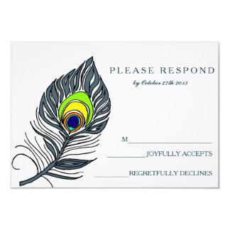 Peacock Feather Blue RSVP Card 9 Cm X 13 Cm Invitation Card