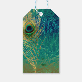 Peacock Feather Blue Teal Gold Exotic Favor Gift Gift Tags