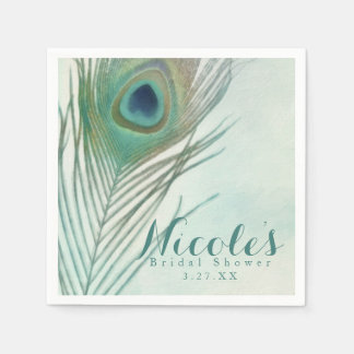 Peacock Feather Boho Chic Watercolor Custom Party Disposable Serviettes