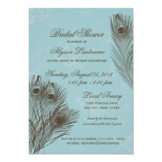 Peacock Feather Bridal Shower 13 Cm X 18 Cm Invitation Card