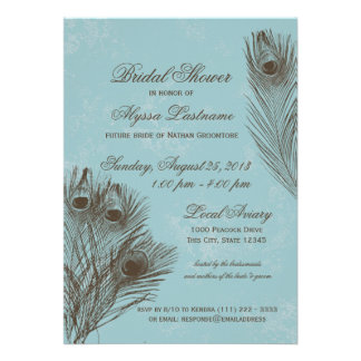 Peacock Feather Bridal Shower Personalized Invites