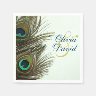 Peacock Feather Bride and Groom Wedding Napkins Disposable Napkin