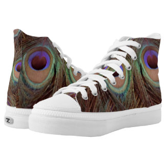 Peacock Feather Brown And Blue High Tops
