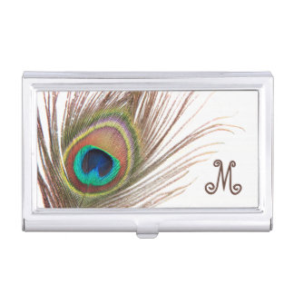 Peacock Feather Business Card Holder