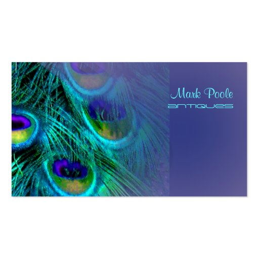Peacock feather business cards, lavender
