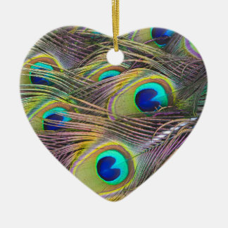 Peacock Feather Ceramic Heart Decoration