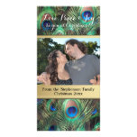 Peacock Feather Christmas Love Peace Joy Holiday Personalised Photo Card