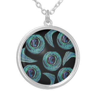 Peacock Feather Circles Design Silver Plated Necklace