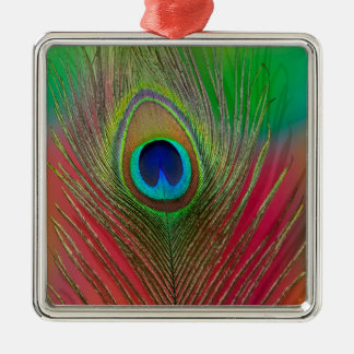 Peacock feather close-up christmas ornament