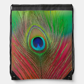 Peacock feather close-up drawstring bag