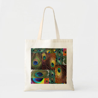 peacock feather collage budget tote bag