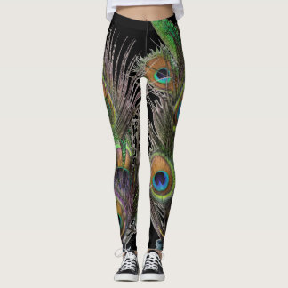 Peacock feather collage leggings