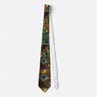 peacock feather collage tie