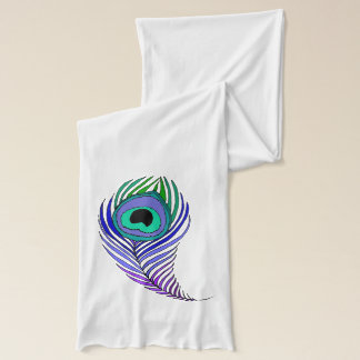 Peacock feather cotton knit scarf