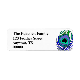 Peacock Feather Customizable address labels
