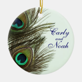 Peacock Feather Customizable Wedding Ornament